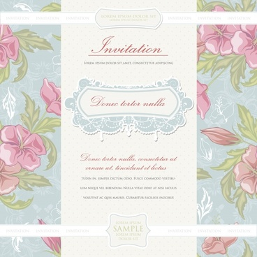 wedding card template elegant retro petals decor
