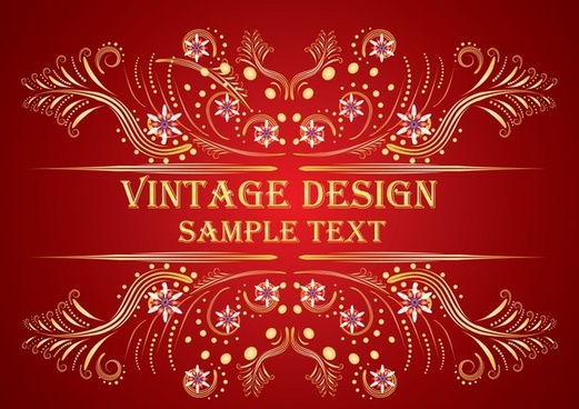 decorative background vintage symmetrical pattern red design