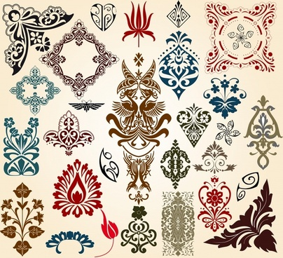 document decor templates elegant retro symmetric sketch