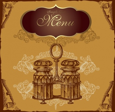 menu cover template retro design 3d decor