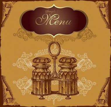 menu cover template retro design 3d decor