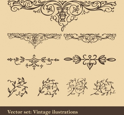 pattern design elements classical symmetrical curves sketch
