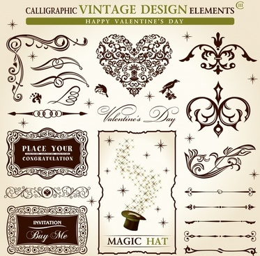 document decorative elements elegant vintage symmetric shapes