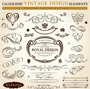 decorative elements templates vintage elegant curves symmetric shapes