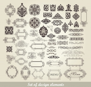 decorative elements collection elegant classic frames curves sketch