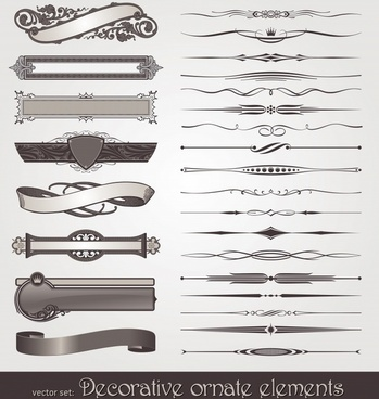 decor elements templates classic ribbons arrows symmetric decor