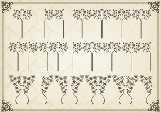 decorative elements flat classic symmetric shapes