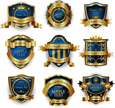 labels templates elegant luxury golden blue decor