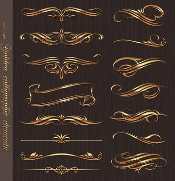document decorative elements elegant luxury golden curves shapes