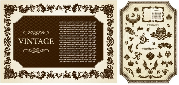 european classical pattern vector frame