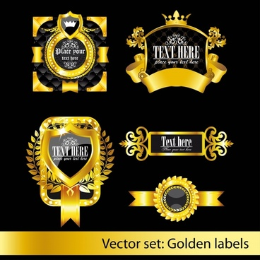 premium labels templates shiny european black golden decor