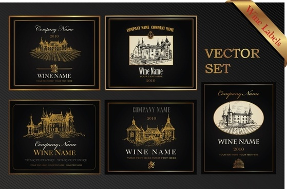 wine labels templates elegant classical dark architecture decor