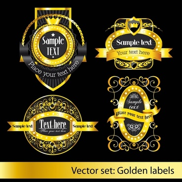 premium labels templates luxury elegant black golden decor