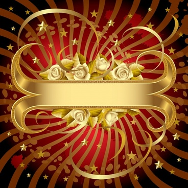 decorative background elegant luxury golden rose ribbon decor