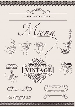menu decor elements classical symmetric seamless shapes