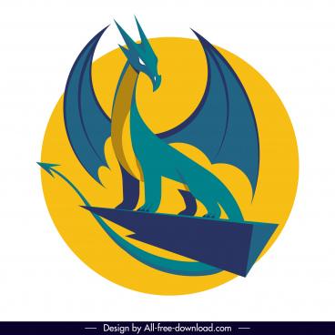 european dragon icon classical 3d sketch