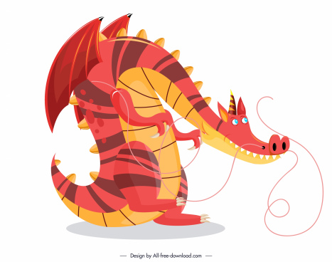 european dragon icon colored funny cartoon sketch