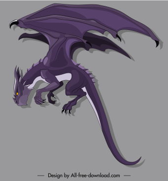 european dragon icon violet design cartoon character sketch