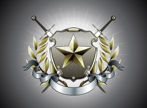 logo template star sword ribbon ornament 3d metallic