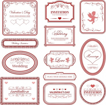 wedding card label templates classical flat shapes decor