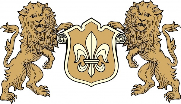 european heraldic template symmetric lions shield sketch