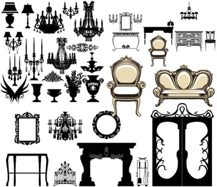 european furniture lighting decoration vector