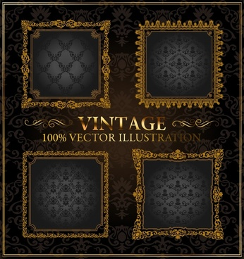 vintage frame templates elegant symmetric golden design