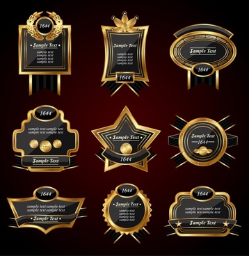 european label templates elegant luxury golden black shapes