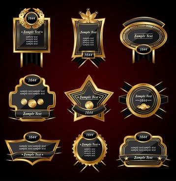 european label templates elegant luxury golden black shapes