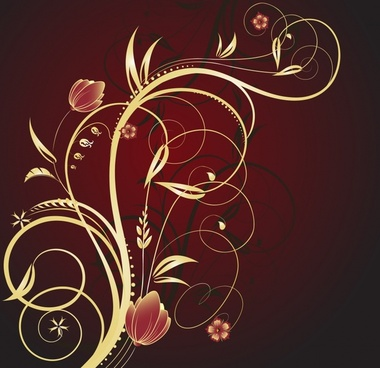 flower background classical dark colored curves decor