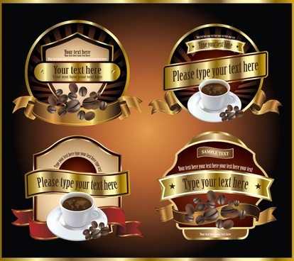 coffee label templates shiny modern elegant golden design