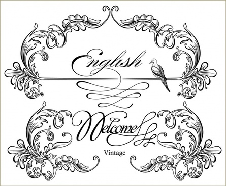 wedding card decorative templates elegant classic symmetric curves