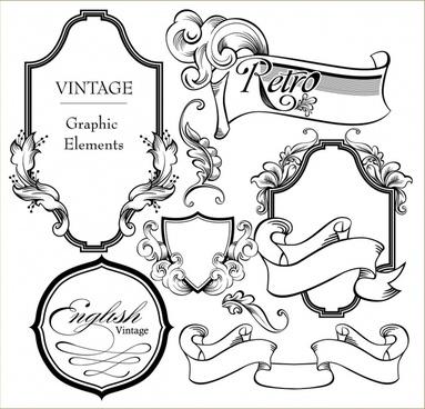 card decorative templates elegant european retro shapes