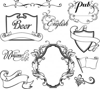 decorative elements templates elegant retro european shapes