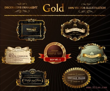 label templates elegant luxury golden decor