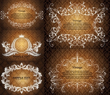 european gorgeous lace pattern vector