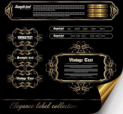 european gorgeous pattern label 02 vector
