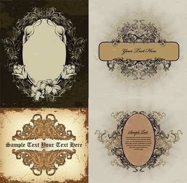 documents decor templates elegant retro symmetric curves sketch