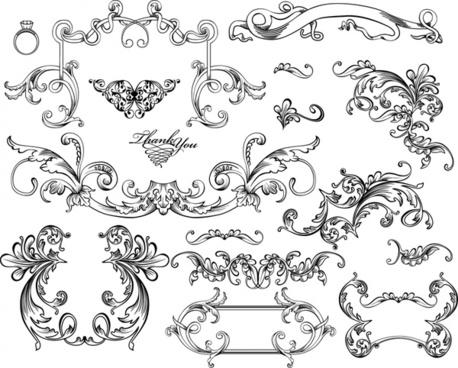 wedding decorative elements elegant classic symmetric shapes