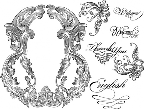 wedding decorative elements black white symmetry calligraphy sketch
