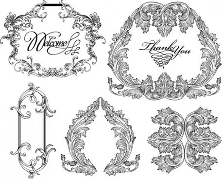 wedding decorative templates elegant retro symmetric calligraphic sketch