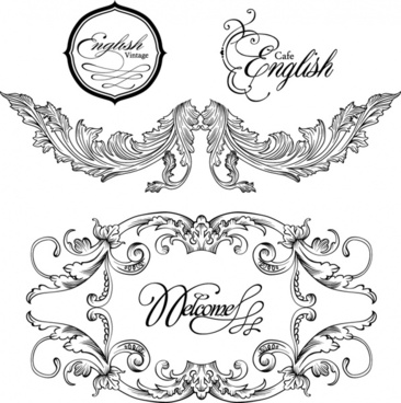 wedding decorative templates elegant symmetric shapes calligraphy sketch