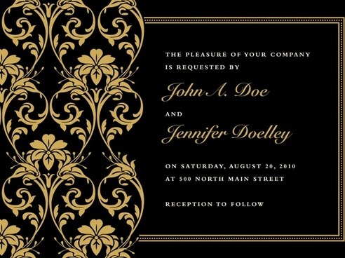 invitation card template elegant black golden decor