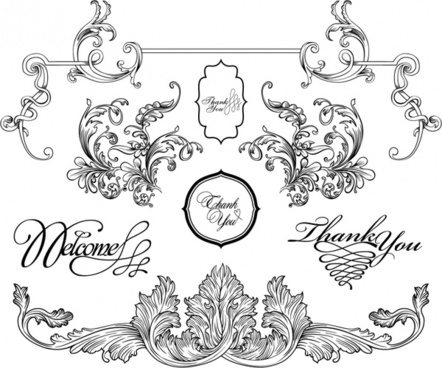 wedding decorative templates formal elegant european shapes sketch