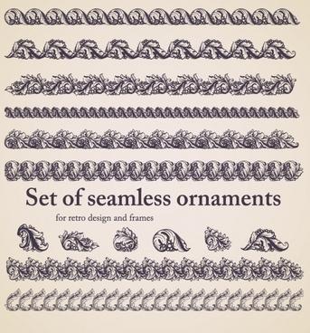 border elements templates elegant classical european seamless shapes