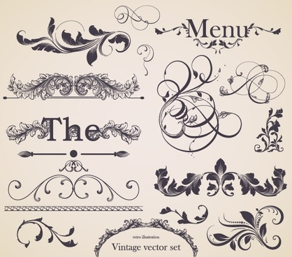 decorative elements elegant retro european curves
