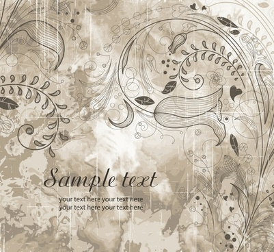 european decorative background flat retro handdrawn floral sketch