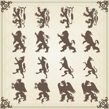 european logo decor elements silhouette legendary animals sketch