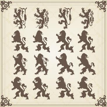 european logo decor elements flat silhouette legendary lions
