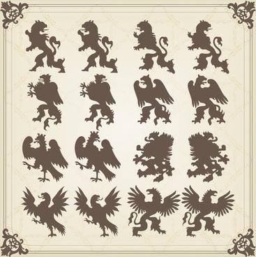 logo decor elements european legendary animals silhouette classic